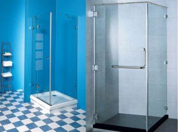 phòng tắm kính vuông góc mở quay 90 độ